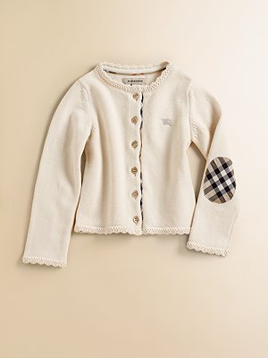 Burberry Infant Girl's Elbow Patch Cardigan