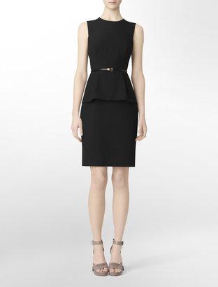 Calvin Klein Sleeveless + Belted Peplum Dress
