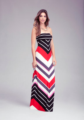 Bebe Strapless Stripe Maxi Dress
