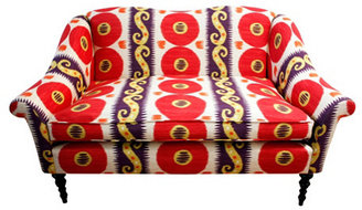 "Chloe 61"" Patterned Settee, Red/Yellow"