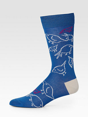 Paul Smith Printed Cotton-Blend Socks