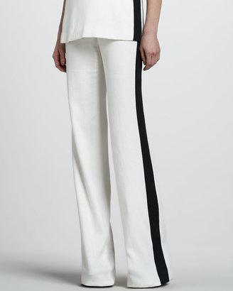 Rachel Zoe Jett Wide-Leg Pants, Ivory/Black