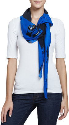 McQ by Alexander McQueen Angry Eagle Square Scarf, Electric Blue