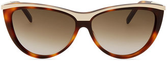 Saint Laurent Metal-Brow Cat-Eye Sunglasses, Havana
