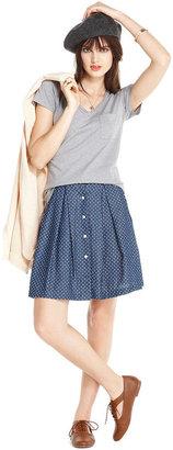 Maison Jules Skirt, Polka-Dot Print Denim A-Line