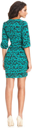Amy Byer Petite Dress, Three-Quarter-Sleeve Printed Faux-Wrap