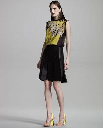 Reed Krakoff Leather & Silk Skirt