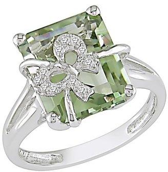 Diamond and Green Amethyst Ring