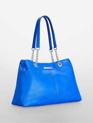 Calvin Klein Chain Detail Leather Capacity Tote