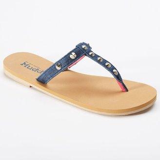 Mudd denim studded t-strap flip-flops