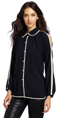 Luce C. Women's Billowy Buttoned Accent Trim Blouse