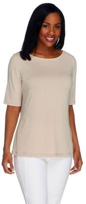 Susan Graver Essentials Liquid Knit Bateau Neck Top w/Elbow Sleeves