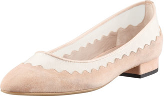 Chloé Suede Tulle-Scalloped Ballet Flat, Nude