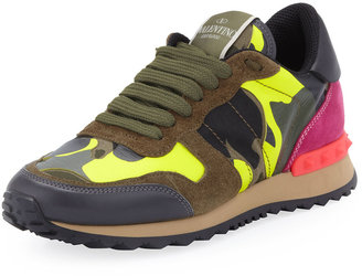 Valentino Rockstud Camo-Print Sneaker, Green/Yellow