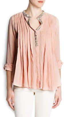 MANGO Beaded cotton blouse