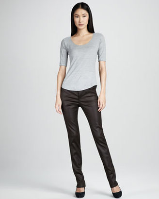 Liverpool Abby-Skinny Leather-Coated Jeans