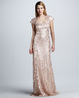 Tadashi Shoji Sequined Lace Cap-Sleeve Gown