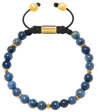 Nialaya Jewelry - Men'S Beaded Bracelet With Blue Coral And Gold