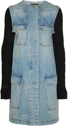 Alexander Wang Knit-sleeved denim coat