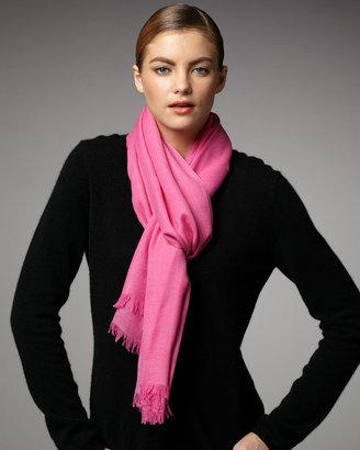 Neiman Marcus Ultra Lightweight Cashmere Scarf, Hot Pink