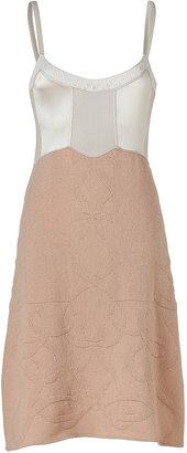 Jil Sander Blush/Ivory Wool-Cashmere Mixed-Media Knit Dress