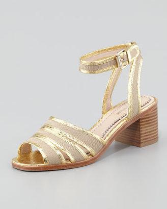 Pour La Victoire Rylie 2 Canvas & Snake Sandal, Gold