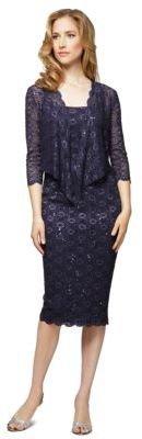 Alex Evenings Plus Plus Sequined Lace Sheath Dress With Jacket