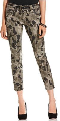 BeBop Juniors Pants, Belted Skinny Cropped Camouflage-Print