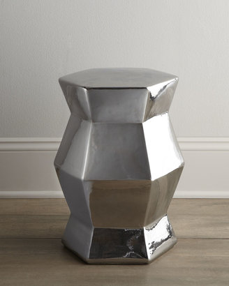 Horchow Silvery Ceramic Stool