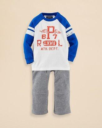 Ralph Lauren Infant Boys' Jersey Raglan Tee & Pants Set - Sizes 3-9 Months