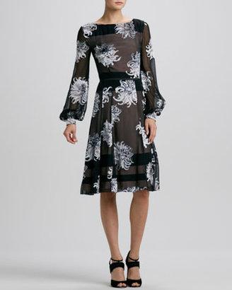 Carolina Herrera Long-Sleeve Dahlia Devore Dress