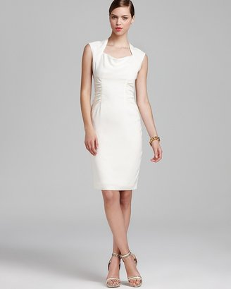 Adrianna Papell Sheath Dress - Cap Sleeve Side Ruched