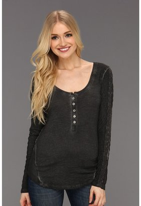 Free People Shell Stitch Henley F508U419A (Washed Black) - Apparel