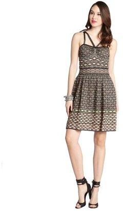 M Missoni black and peach patterned lurex blend strappy sleeveless dress