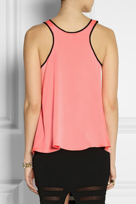 Milly Mesh-paneled stretch-silk top