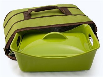 Rachael Ray Stoneware Covered Baker with Insulated Carrier, Green