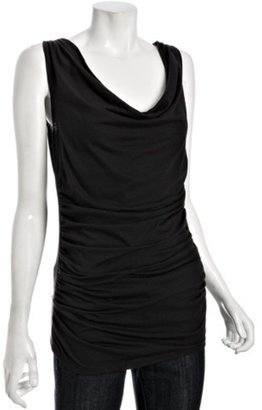 Piper & Sparrow black ruched front cowl neck sleeveless top