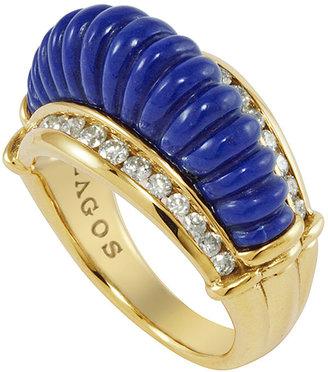 Lagos 18k Fluted Lapis & Diamond Ring