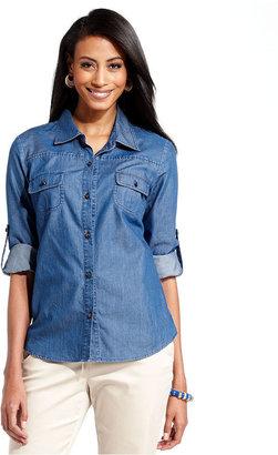 Charter Club Petite Shirt, Long-Sleeve Button-Down Chambray