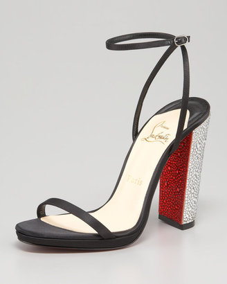 Christian Louboutin Au Palace Crystal-Heel Satin Red Sole Sandal