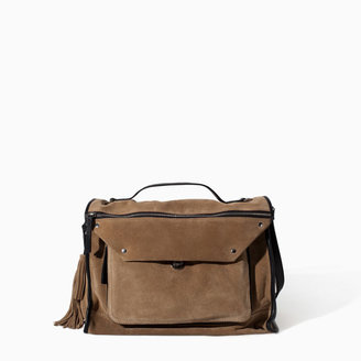 Zara Suede Leather City Bag