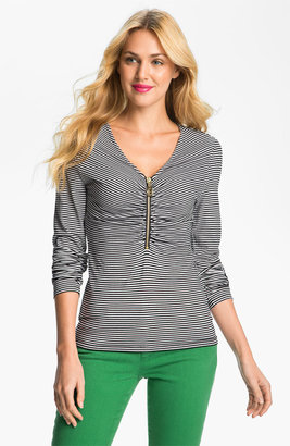 MICHAEL Michael Kors Zip V-Neck Stripe Top