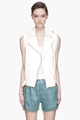 Balmain PIERRE Ivory white Leather classic biker Vest