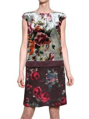 Antonio Marras Viscose Velvet & Crepe De Chine Dress