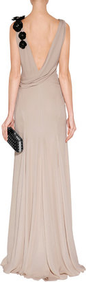 Jenny Packham Sandstone Floral Applique Silk Gown