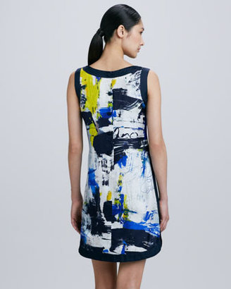 Theia Printed Silk Shirttail Dress