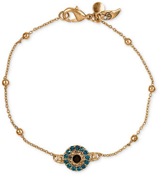Rachel Roy Bracelet, Worn Gold-Tone Rosary Chain Blue Pave Evil Eye Charm Bracelet