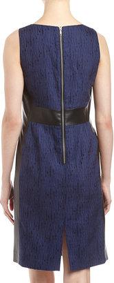 Lafayette 148 New York Faith Textured Leather-Side Dress, Dusk