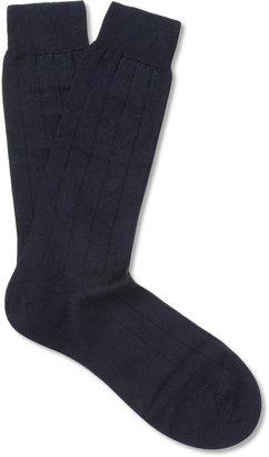 Pantherella Ribbed Sea Island Cotton-Blend Socks $35 thestylecure.com