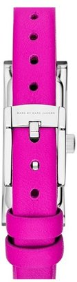 Marc by Marc Jacobs 'Logo Plaque' Leather Strap Watch, 16mm x 42mm